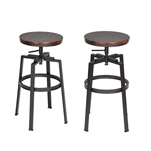 FurnitureR Barstools Set of 2 Counter Height Swivel Bar Chair Round Wood Seat with Metal Legs,Industrial Style,Walnut