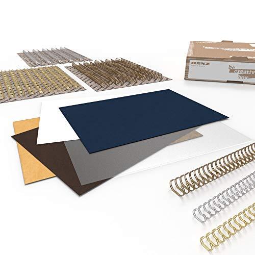 RENZ BE CREATIVE BOX – NATURE, Starterset mit Einbanddeckeln und Drahtbinderücken, Größe DIN A4