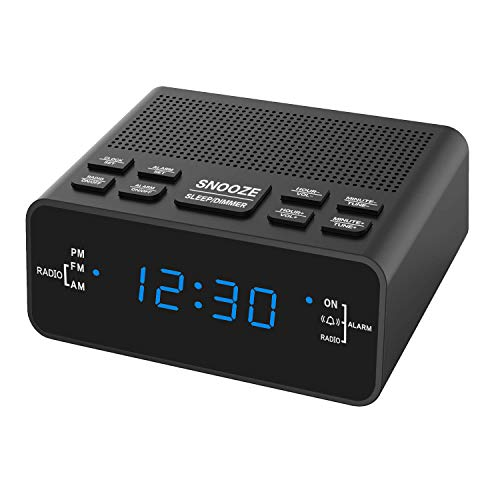 Alarm Clock, AM/FM Digital Alarm Clock Radio with LED Display,Sleep Timer, Dimmer, Snooze Battery Backup for Bedrooms,Bedside,Desk,Shelf
