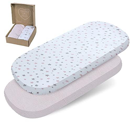 2 sábanas bajeras mimaDu® para minicuna, cuna de colecho, cochecito (80x35 a 90x50 cm) – Pack de sábanas suaves 100% algodón OEKO-Tex para colchón de bebé (rosa, blanco, gris, estrellas y rayas)