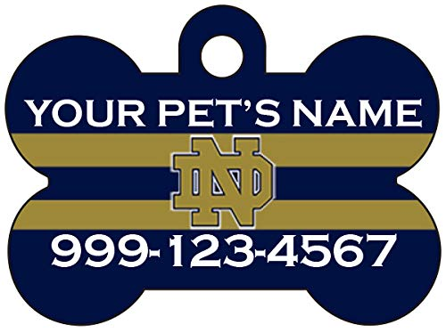 uDesignUSA NCAA Dog Tag Pet Id Tag Personalized w/Name & Number (Notre Dame Fighting Irish)