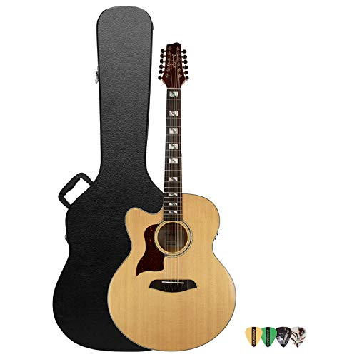 Sawtooth Maple Series Left-Handed 12-String Acoustic-Electric Cutaway Jumbo Guitar with Hard Case & Pick Sampler