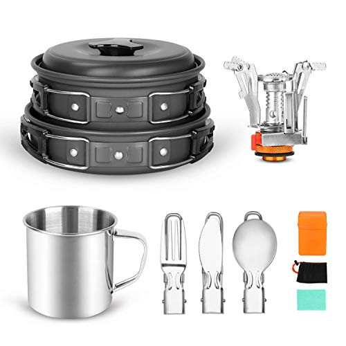 Odoland 10pcs Camping Cookware Mess Kit, with Stove Pot Pan Bowls Sporks Cup Set for Backpacking Camping Outdoor Hiking and Survival, Lightweight and Durable