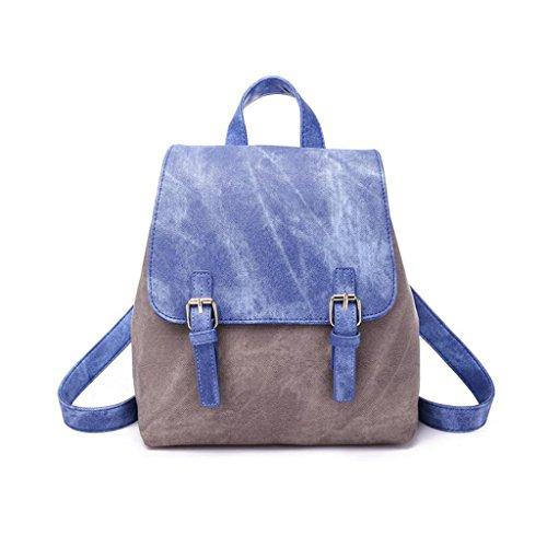 XUEYAN backpack La nueva mochila de bolso de tendencia de viento de colegio de cuero PU pequeña bolsa de hombro (Color : Azul, Tamaño : 25*28*15cm)