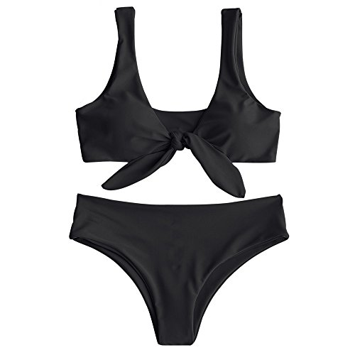 ZAFUL Womens Wireless Padded Front Knot Bikini Set Black S