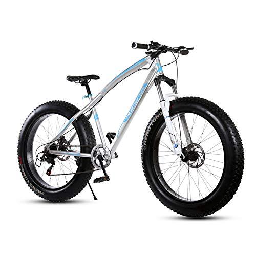 XRQ Mountain Bike 26 Zoll 21/24/27 Geschwindigkeit Männer Hardtail Mountainbike Carbon Steel Mountainbike Full Suspension Fahrrad All Aluminiumlegierung-Mechanische Scheibenbremse,Silber,24 Speed