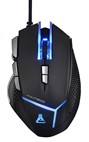 THE G-LAB - KULT 200 - Ratón Gaming Profesional - 4000 DPI - 9 Botones - Negro con Retroiluminación 8 Colores