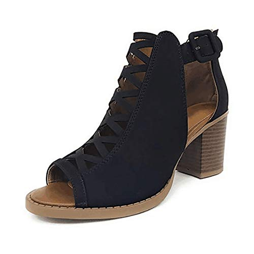 Tacones Altos Sandalias Sandalias Informales con Tiras para Mujer with Heels Beautiful,Anti-Slip and Wear-Resistant para Casual Fiesta,41