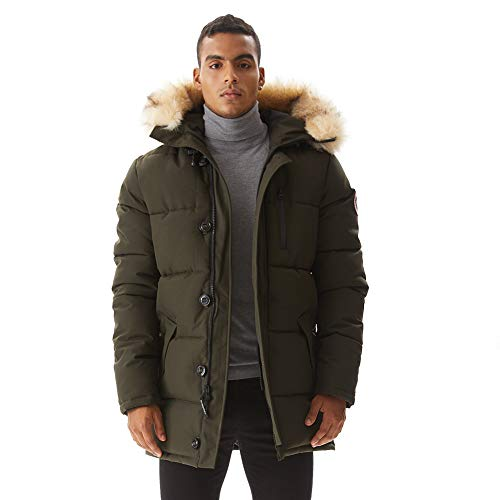 PUREMSX Mens Arctic Winter Jacket Thickened Down Alternative Waterproof Quilted Fur Hooded Heavy Weight Best Snow Long Anorak Parka Padded Coat for Junior Boys,Army Green,X-Small