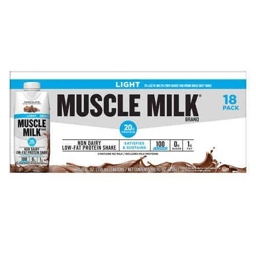 Muscle Milk Light Ready-to-Drink Shake, Chocolate, 11-Ounce Cartons (Pack of 18)