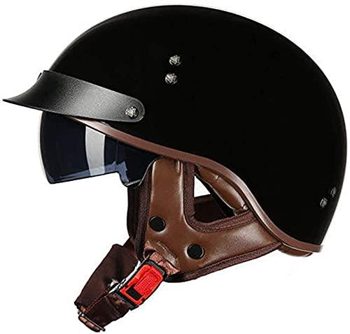 Casco De Motocicleta Con Visera,Casco Jet Para Moto Vintage Casco Medio Certificado ECE Hombres Y Mujeres Retro Seguridad Ligera Eléctrico Medio Casco Estilo Retro ( Color : A , Size : XXL = 63cm )