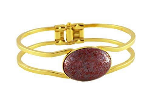 24K Oro Placcato Bracciale Universale Regolabile Dimensioni 18cm Terracotta Argento Corallo Rosso ceca Pietra di Vetro 25mm x 18mm a Mano BohemStyle