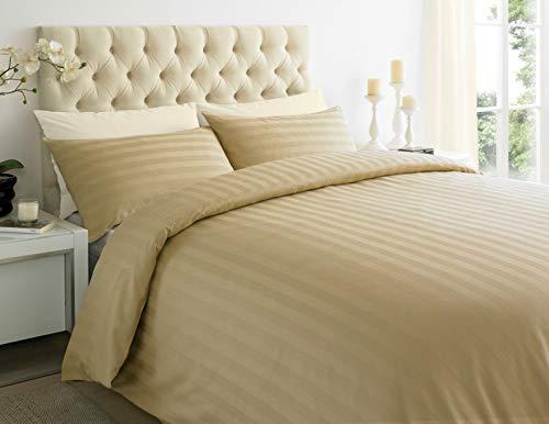 ES Bargains Duvet Cover 400TC Egyptian Cotton Stripe Duvet Quilt Cover With Pillowcase Bedding Set (Mocha, Super King)