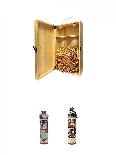 1a Whisky Holzbox für 2 Flaschen mit Hakenverschluss + Grassl Blutwurz Kräuterlikör Deutschland 0,7 Liter + Grassl Enzian Kräuterlikör Deutschland 0,7 ltr.