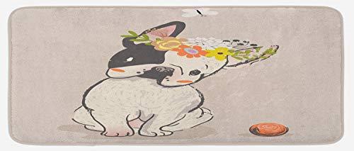 Lunarable Dog Kitchen Mat, Hand Drawn French Bulldog Wreath on Its Head Watercolor Domestic Pet Illustration, Plush Decorative Kitchen Mat with Non Slip Backing, 47' X 19', Multicolor