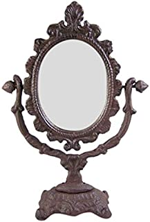 Large Rustic Cast Iron Tabletop Oval Vanity Mirror, 11 1/2 Inches