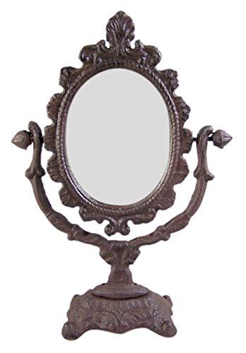 Primitive Home Decor - Espejo de tocador ovalado de hierro fundido rústico, 35 cm