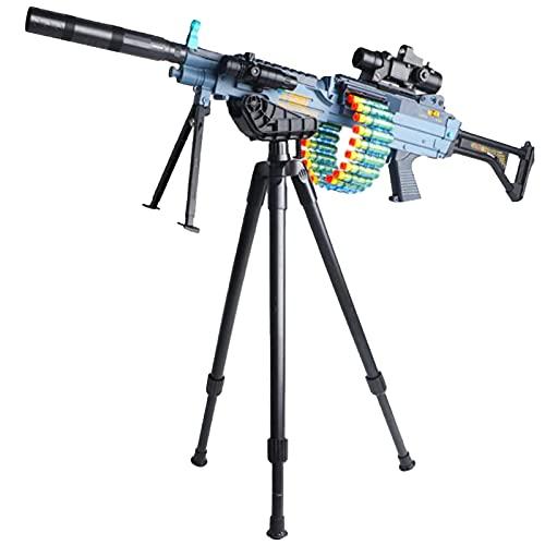 Pistolas de Juguete Foam Blasters M249, Pistola de Juguete Automática Manual Eléctrica 2 en 1 con Trípode,Incluye 120 Balas Suaves y Accesorios de Bricolaje