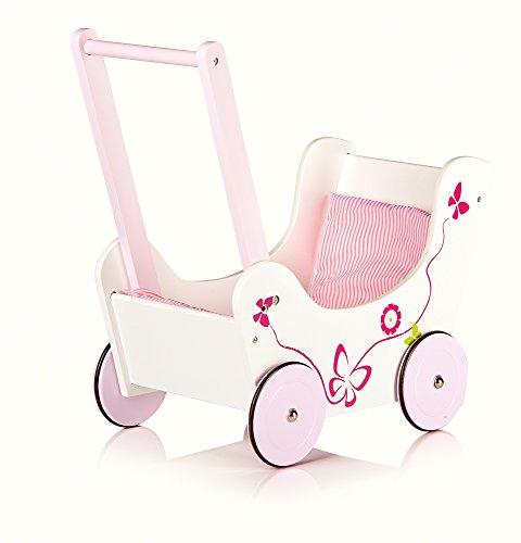Leomark Schmetterling Lauflernwagen Aus Holz für Kinder - PINK - Puppenwagen inkl. Bettwäsche, Lauflernhilfe mit gummierten Holzrädern