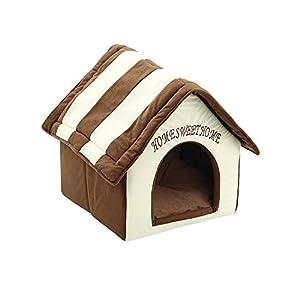 ZIME Pequeña casa de mascotas - Pequeña casa portátil y convertible para perros o gatos, casa para dormir / cama, nido suave para mascotas con tapete extraíble 6