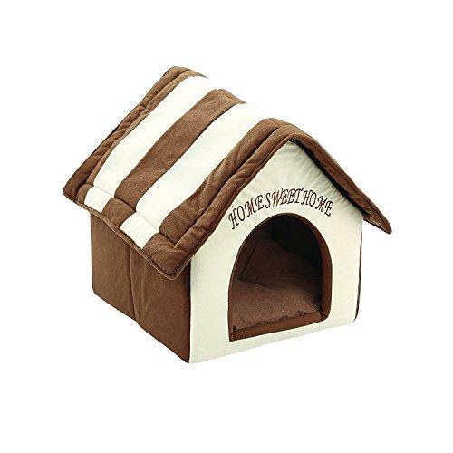 ZIME Kleines Haustier Haus - Portable & Cabrio Kleine Hund oder Katze Sleeping House / Bett, weiches Haustier Nest mit abnehmbarer Matte