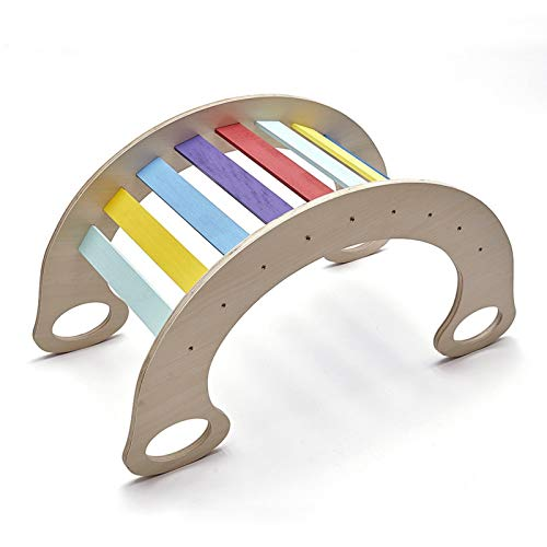 Pikler Arch Rainbow Rocker - Waldorf Wooden Rocking Play (Natural) - Tabla De Equilibrio Montessori - Arco De Escalada Para Niños (tamaño Estándar) - Juguete De Aprendizaje Abierto Para Niños Pequeños