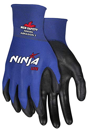Memphis Gloves MCR Safety Large Ninja Lite 18 Gauge Black Latex Free Polyurethane Palm And Fingertips Coated Work Gloves With Blue Athletic Grade Nylon Liner And Knit Wrist (N9696L)