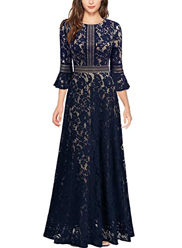 MISSMAY Women's Vintage Full Lace Contrast Bell Sleeve Formal Long Dress, Small, Navy Blue