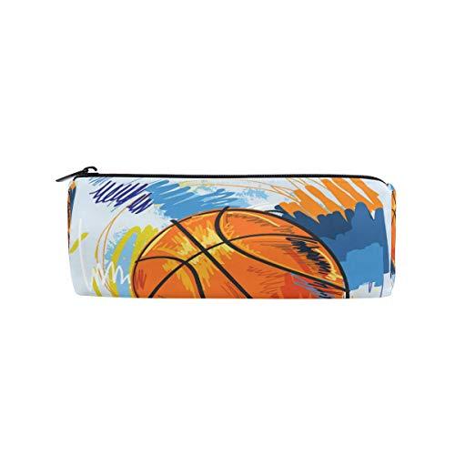 Ahomy rundes Federmäppchen, Aquarell-Basketball-Schreibwaren-Tasche, Stifthalter, Reise-Make-up-Tasche