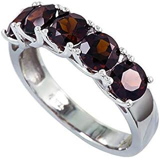 [Amazon Collection] Amazon Collection 镀铑纯银 圆形切割 天然石榴石5颗宝石戒指、尺寸14