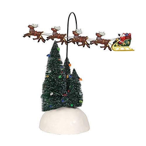 Department 56, Away Flying Sleigh Animated Figurine Village Accessory, Multicolor