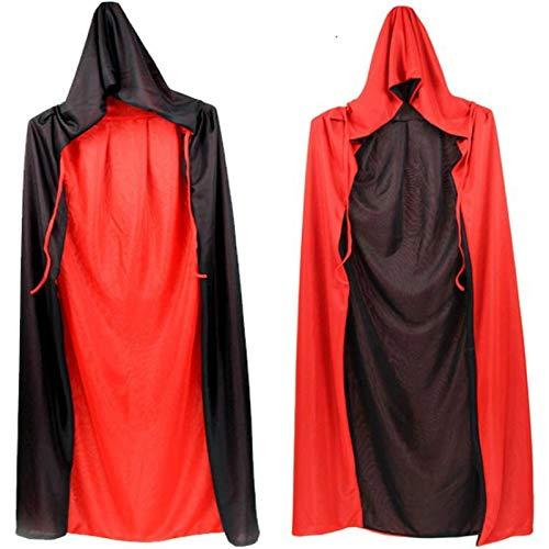 LYMCDP Halloween, 2 Piezas De Capa, Vestido De Fiesta Para NiOs Y Adultos, Capa Roja Y Negra Con Cuello Alto De Doble Cara, Capa Con Capucha De La Parca