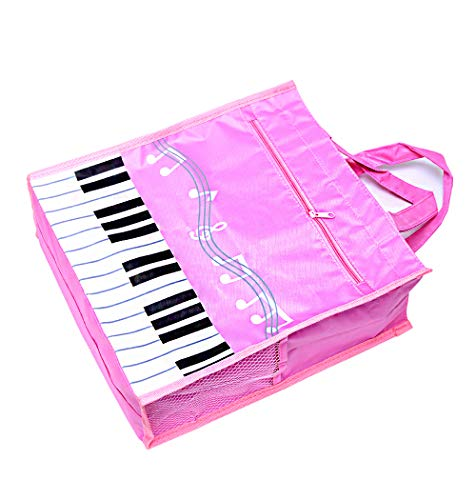 Piano Keys Handbag Reusable Grocery Bag Shoulder Shopping Bag Tote Bag for Music Teacher Girls Gift Bag (Piano Keys Handbag Pink)