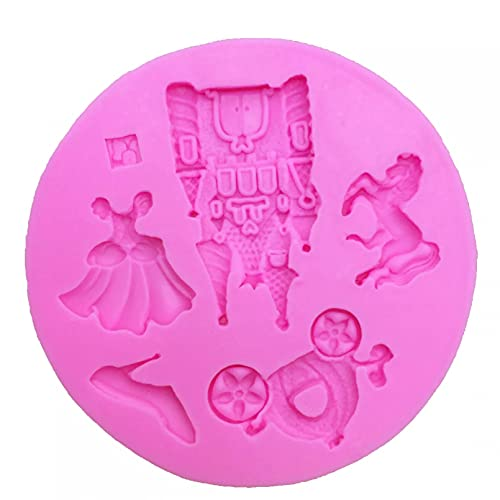 ZPZZPY DIY Vestido de Princesa de Hadas/Castillo/Zapatos/Caballo/Calabaza Molde de Silicona para Coche Molde de decoración de Pasteles para niñas