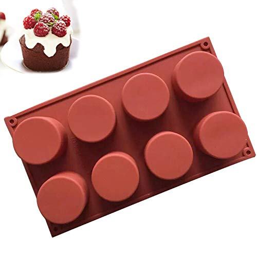 Viivl 8 hole round silicone mold non-stick pan cake baking tool suitable for cake candy soap cupcakes iced cubes candles etc