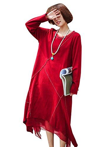 YESNO AD5 Women Long Loose Maxi Wool Dress A Line Skirt Lined Spliced Handmade Stitched Irregular Dip Lace Hem Long Sleeve (M, Red)