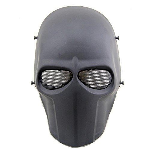 Worldshopping4U–Ganzgesichts-Schutzmaske für Airsoft, Paintball, Cosplay, Hockey, Halloween, als Kostüm, Schwarz/lächelnd/Kreuz/Totenkopf, schwarz