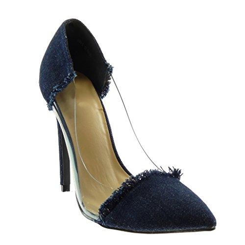 Angkorly - Chaussure Mode Escarpin Slip-on Decolleté Jeans Denim Femme effiloché Transparent Talon Haut Aiguille 11 CM - Bleu foncé - G89-5 T 38