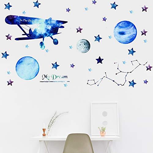 Planeten Wandaufkleber - Euproce 2 Pcs Kinder Wandsticker Dekoration mit Flugzeug/Stern/Neun Planeten/Meteorit, DIY Sternenhimmel Aufkleber Geburtstagsgeschenk für Kinderzimmer Schlafzimmer, Decke
