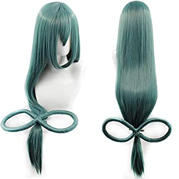 Long Straight Length  35 inch with Bow Dark Green Women Cosplay Costume Christmas Halloween Wig