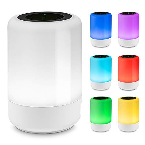 Zovex® Nachttischlampe – Tischlampe mit [3] verschiedenen Lichtmodi – [7] unterschiedliche Farben – Intuitive Touch-Funktion – LED Nachttischlampe inklusive [4] USBPorts & Ladekabel (Weiß)