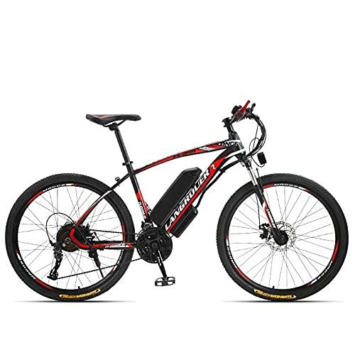 Bicicleta De Montaña Eléctrica De Litio, 26 Pulgadas 21 Velocidad 36V, Vehículo Eléctrico para Adultos-Rueda Roja Negra De 26 Pulgadas 21 Velocidades_36V 10A,Bicicleta Electrica