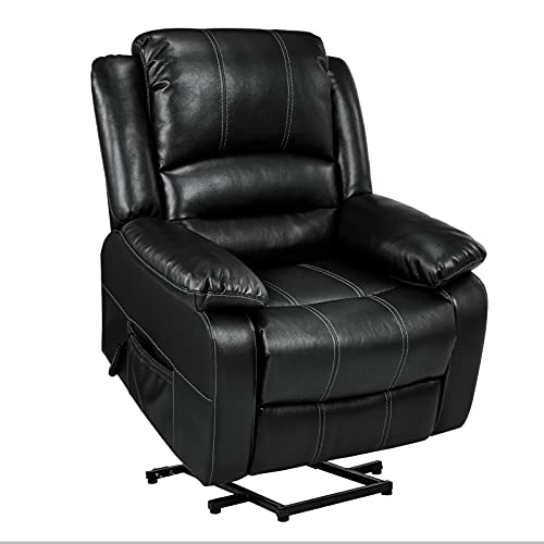 Lift Chair, Lift Chair Recliner for Elderly, Soft Fabric Design with Side Pockets & USB Ports, Supports up to 360 lbs (Black)