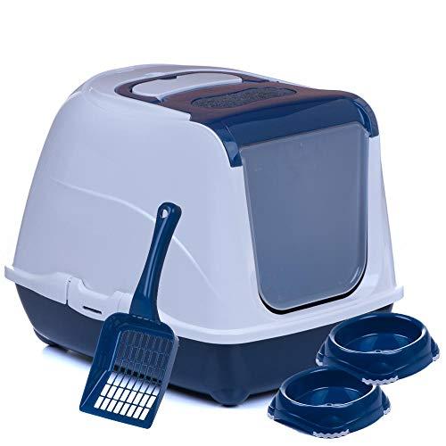 adena Sondermodell Flipcat 50 blau/Design 1 + extra Schaufel + 2 Näpfe