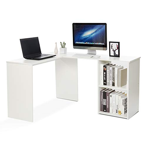 Mondeer Eckschreibtisch, Computertisch L-Förmig Schreibtisch mit 2 Ablagen Großer fürs Arbeitszimmer Wohnzimmer Büro 108×135×73,5 cm (Weiß)