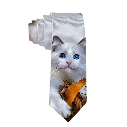 Corbata clásica de negocios para hombre Corbatas de gato blanco con hermosos ojos azules