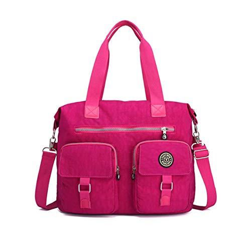 DNFC Damen Handtasche Schultertasche Groß Umhängetasche Wasserdicht Henkeltasche Beuteltasche Vintage Shopper Tasche für Frauen Mädchen (Rose Rot)