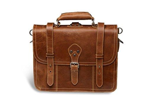 """Alpenleder 4-in-1 Tasche \""""BROOKS\""""   Echtes Büffel-Leder   Aktentasche Rucksack Schultertasche Fahrradtasche in einem, 41 cm x 32 cm x 18 cm, Cognac (braun)"""