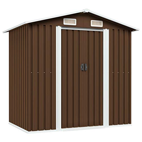 vidaXL Cobertizo de Almacenaje para Jardín Antracita Caseta Casetilla de Almacenamiento para Patio Exterior Cabaña de Acero Marrón