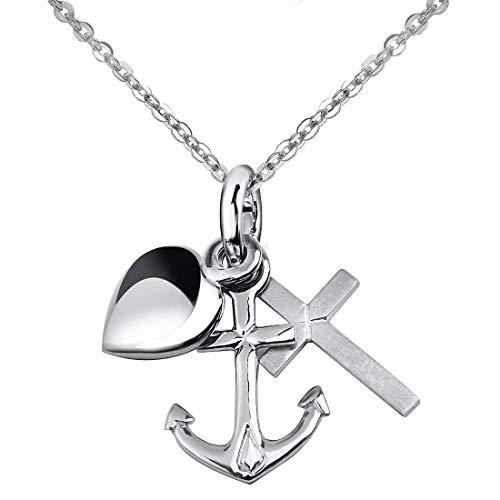 MATERIA 925 Silber Anhänger Glaube Liebe Hoffnung mit Herz Anker Kreuz #KA-13